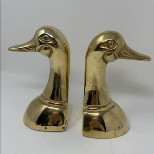 Solid Cast Brass Duck Bookends Vintage